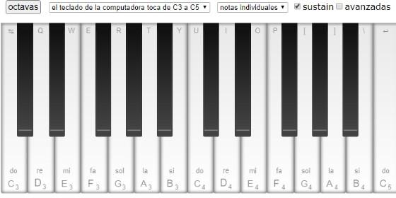 para tocar con el teclado de nuestro ordenador