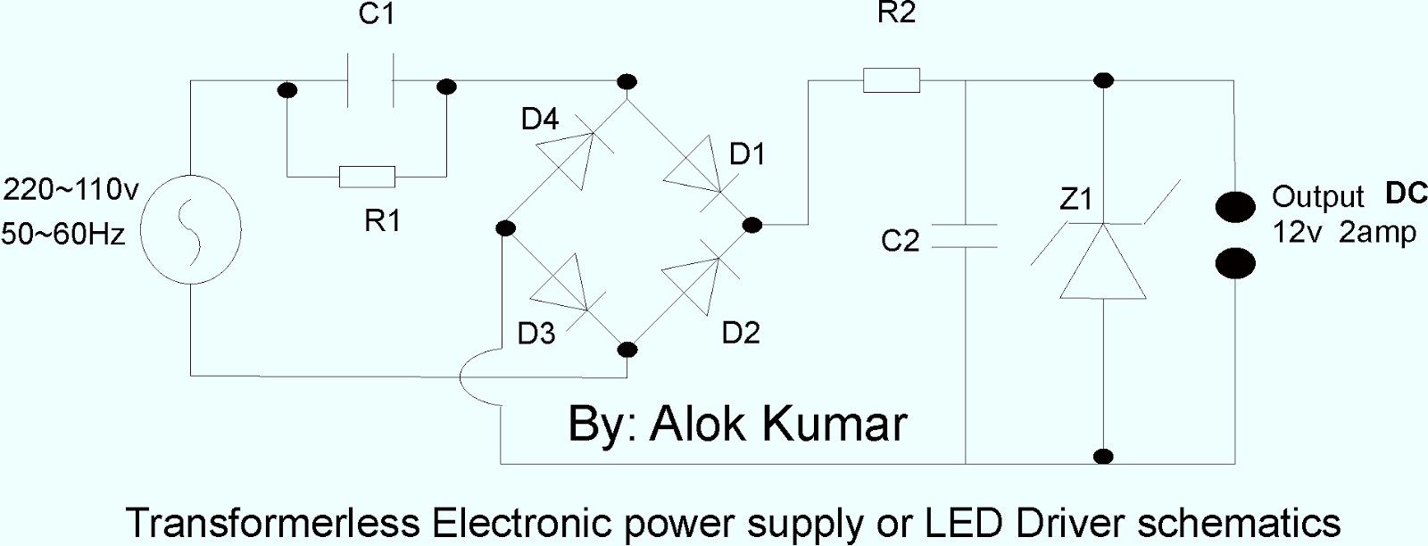 electronic circuits transformerless power supply led drivers c1 400v 1395k capacitor or connect three 400v 475k or two 2uf 400v capacitor in parallel for 1 2ampere or higher capacitance for higher current according