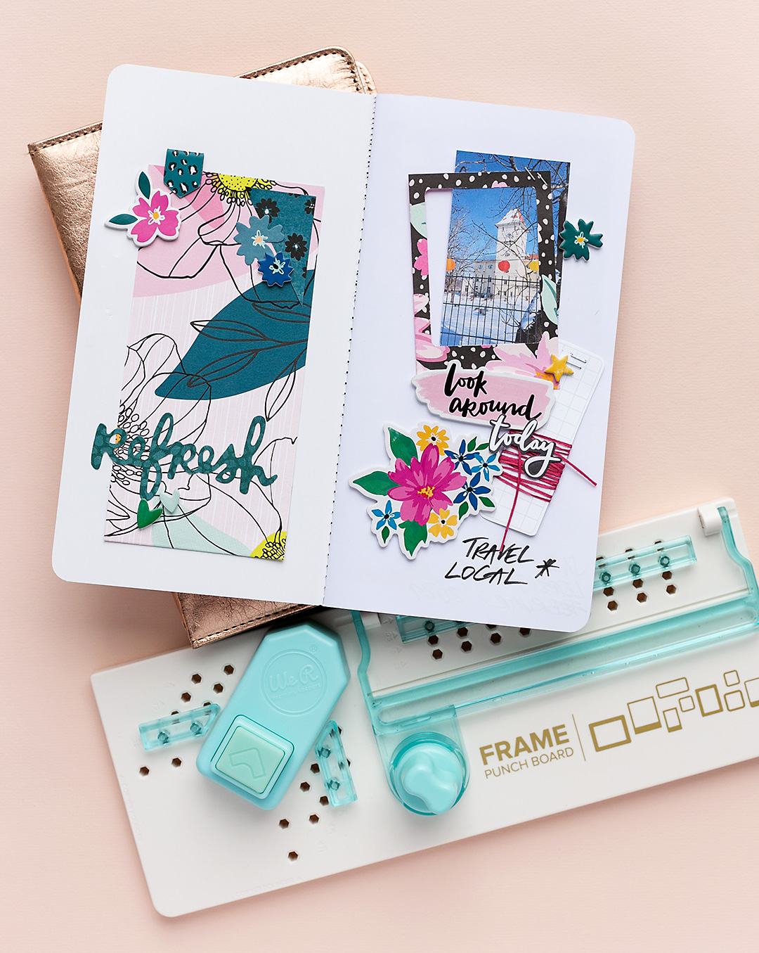 Journal spread with frames, photo and the Frame Punch Board by We R Memory Keepers