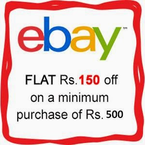 Flat Rs.150 on Rs.500 only at ebay.in