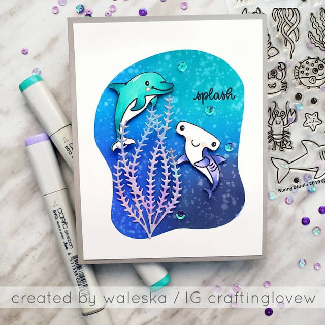 Sunny Studio Stamps: Best Fishes & Oceans of Joy Dolphin & Hammerhead Shark Card by Waleska