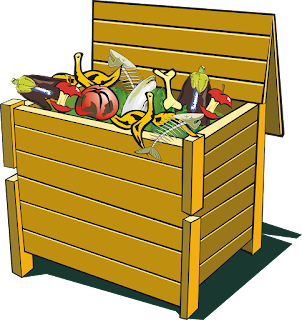 rectangular wooden compost bin, filled to overflowing