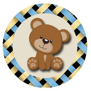 Osito con Fondo de Lazos: Wrappers y Toppers para Cupcakes para Descargar Gratis.