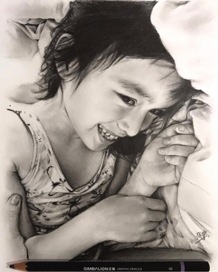 11-Pencil-drawing-of-my-daughter-David-Chong-www-designstack-co