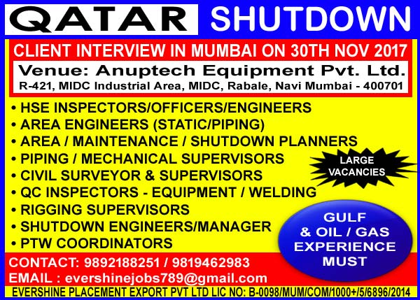 Civil Jobs, Mechanical Supervisor, Mumbai Interviews, Oil & Gas Jobs, Piping Jobs, Planner, Qatar Jobs, Rigging Supervisor, Shutdown Jobs, Survey Jobs, Welding Inspector, Gulf Jobs Walk-in Interview,