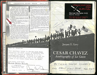 Title page of Cesar Chavez with letter from Geoge McGovern pasted in along with other clippings