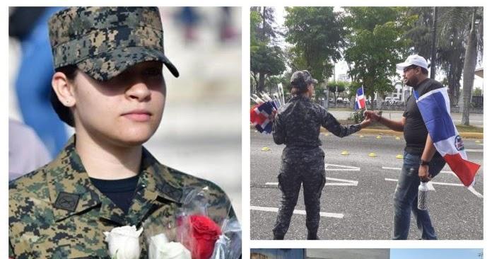 Manifestantes al trabucazo 2020 valoran gesto de policías y militares de regalar flores y banderas