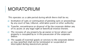 Moratorium under Insolvency and Bankruptcy Code, 2016 (Code)