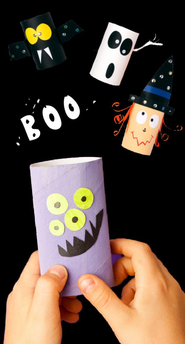 Keep kids creating for hours with this collection of Halloween tube crafts! #halloween #halloweentubecrafts #cardboardcrafts #growingajeweledrose #activitiesforkids