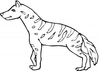 Animal Printable Scary Hyena Coloring