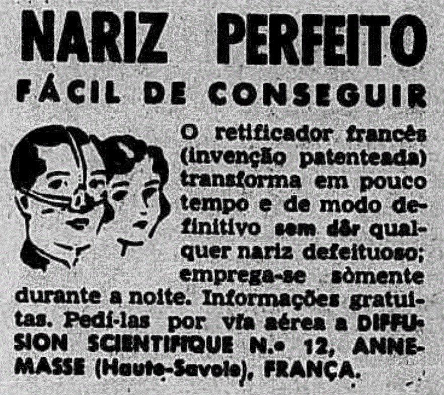 Anúncio antigo de acessório para mudança de nariz em 1958