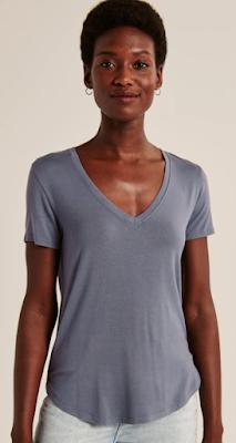 Abercrombie Drapey V-Neck SoftAF Shirt