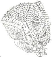 crochet doily pattern - pineapple doily diagram - 26 row no:21