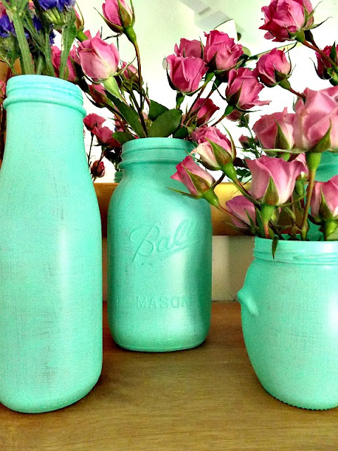 Beach Glass Painted Jars