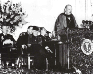 Winston Churchill delivering the 'Iron Curtain' speech at Westminster College in Missouri, March 5, 1946