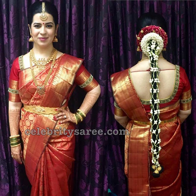 Rayanne in Red Kanjeevaram Saree