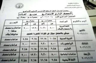 جدول الشهادة الاعدادية في القليوبية ترم اول بتاريخ 18 ديسمبر 2015 المنهاج المصري 4.jpg