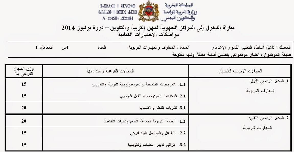 الأطر المرجعية لعلوم التربية للاسلاك الثلاث لدورة يوليوز 2014