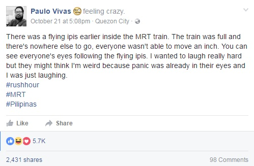 FUNNY! Netizen Shares Funny Experience On Flying Ipis On Train
