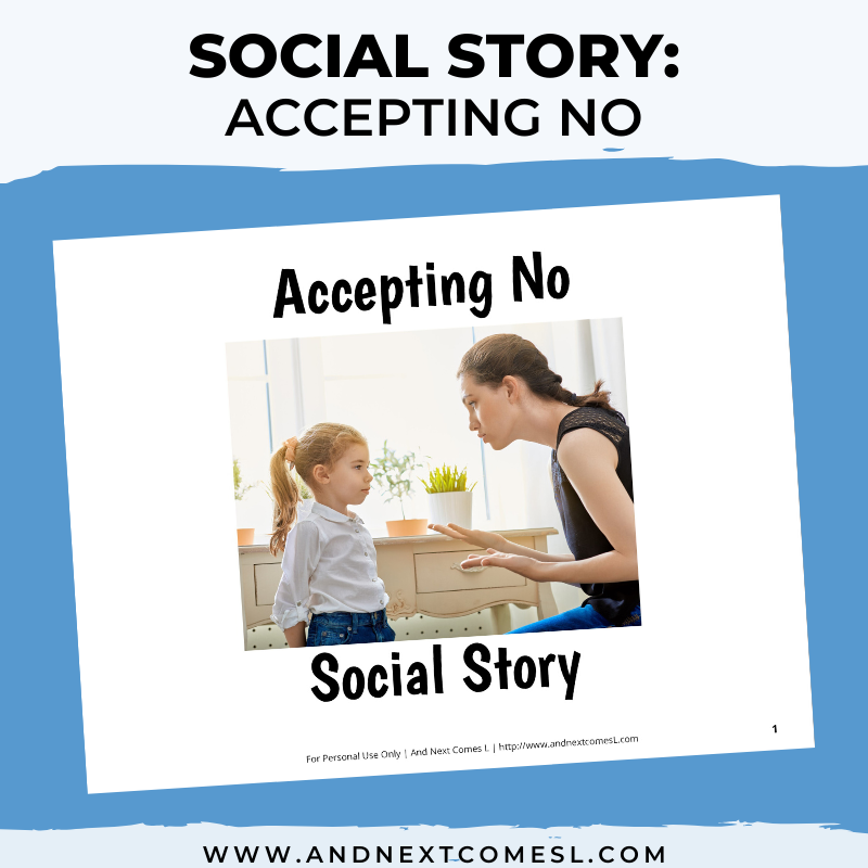 Printable social story for kids with autism about accepting no