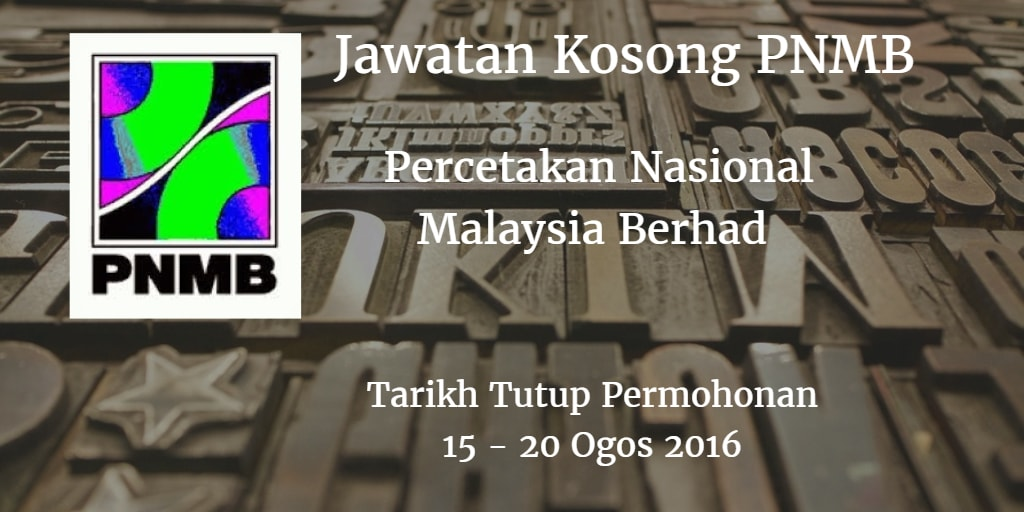 Jawatan Kosong PNMB 15 - 30 Ogos 2016