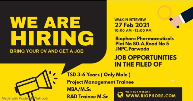 Biophore India Limited | Walk-in interview for MSC/MBA freshers on 27th Feb 2021