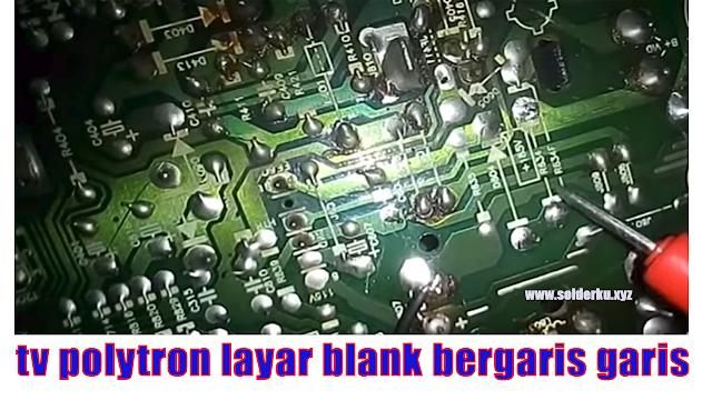 tv polytron layar blank bergaris garis