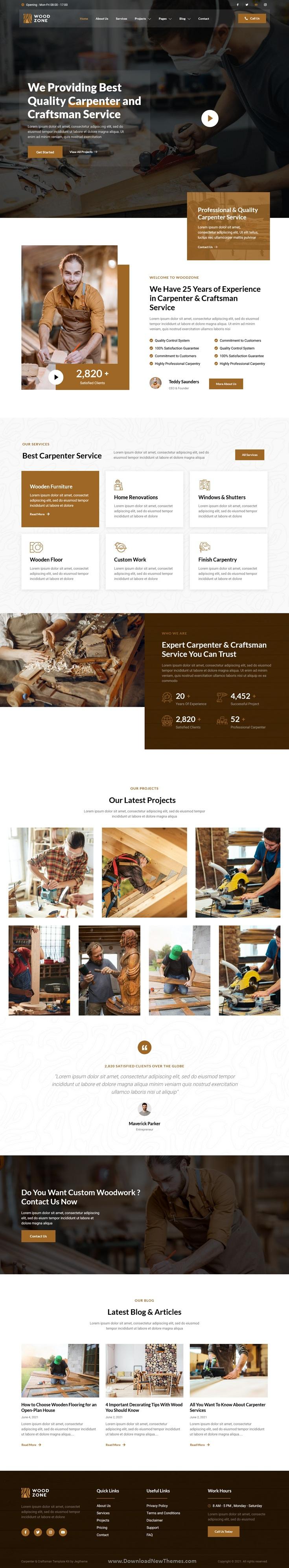 Carpenter & Craftsman Elementor Template Kit