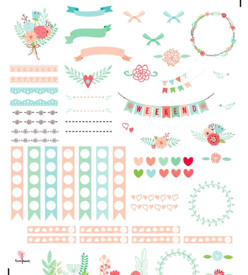 beautiful twee floral planner printable