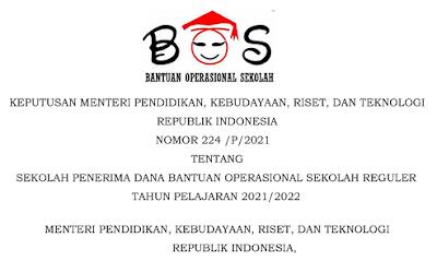 Kepmendikbud 224 Tahun 2021 Salinan Penerima BOS Reguler Tahun Pelajaran  2021-2022