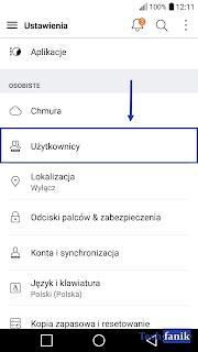 android ustawienia użytkownicy