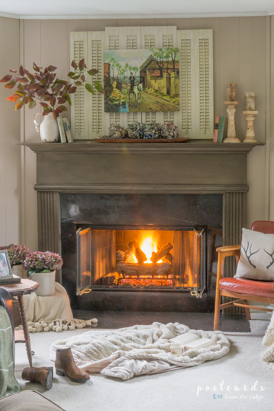 fall mantel with reclaimed shutters and vintage decor