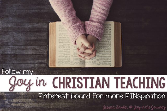 "Follow my ""Joy in Christian Teaching"" Pinterest board for ideas and activities to use in your Christian classroom, home, or Sunday School."