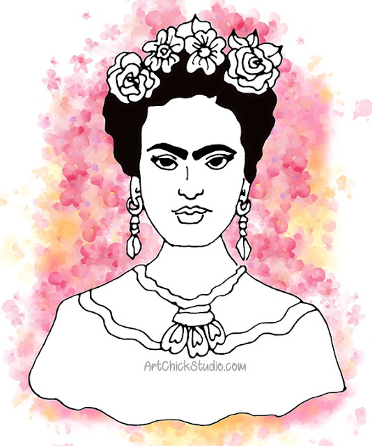Frida Kahlo Digital Watercolor Frida Friday