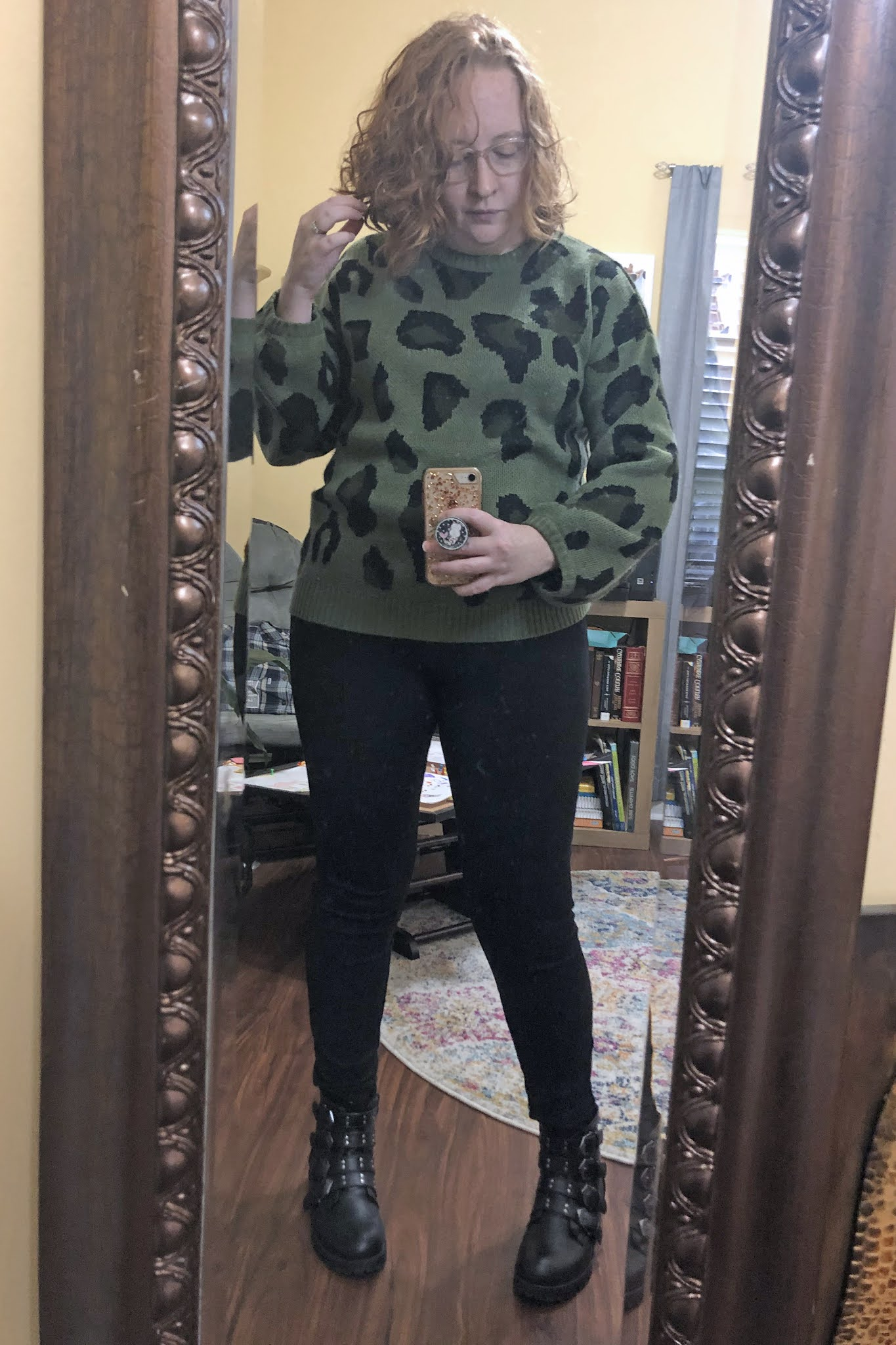 leggings and slouchy sweater