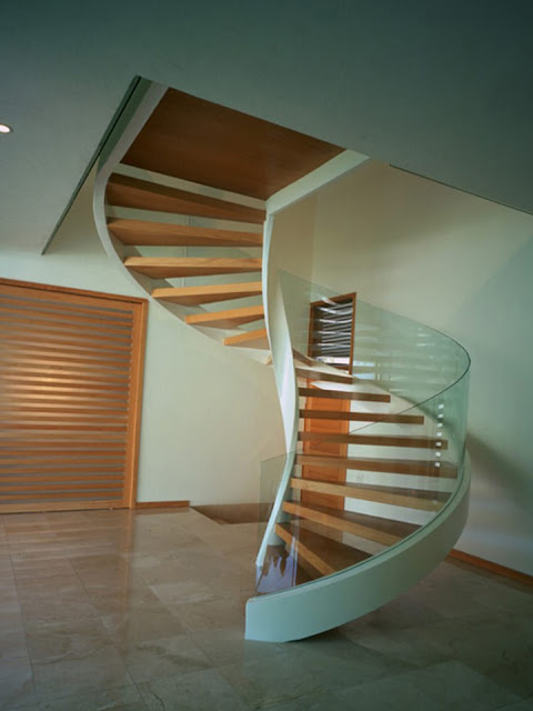 Glazed wooden stairs