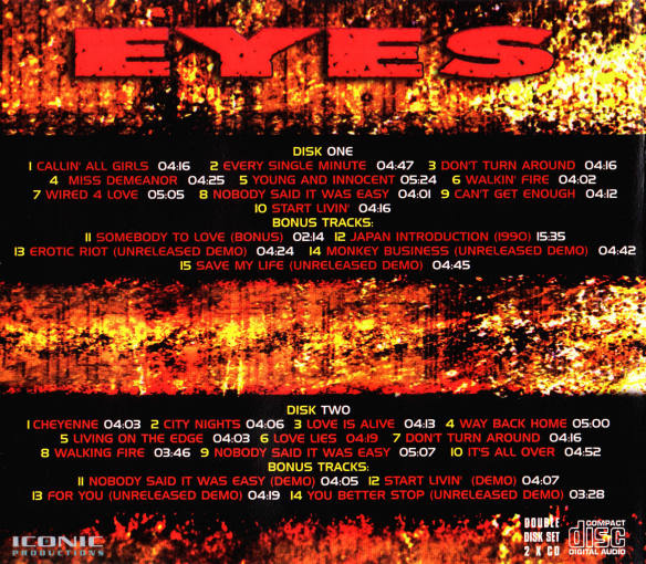 EYES (Jeff Scott Soto) - 24U [2-CD Set] Out Of Print -back