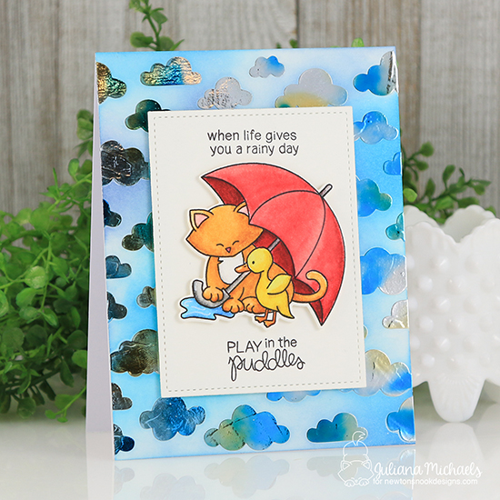Newton's Nook Designs & Therm O Web Inspiration Week | Play in the puddles card by Juliana Michaels |  Newton's Rainy Day Stamp set and Cloudy Sky Stencil by Newton's Nook Designs #newtonsnook #thermoweb