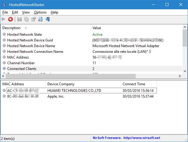HostedNetworkStarter info hotspot WiFi e connessione