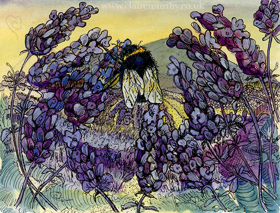 bumblebee on lavender painting
