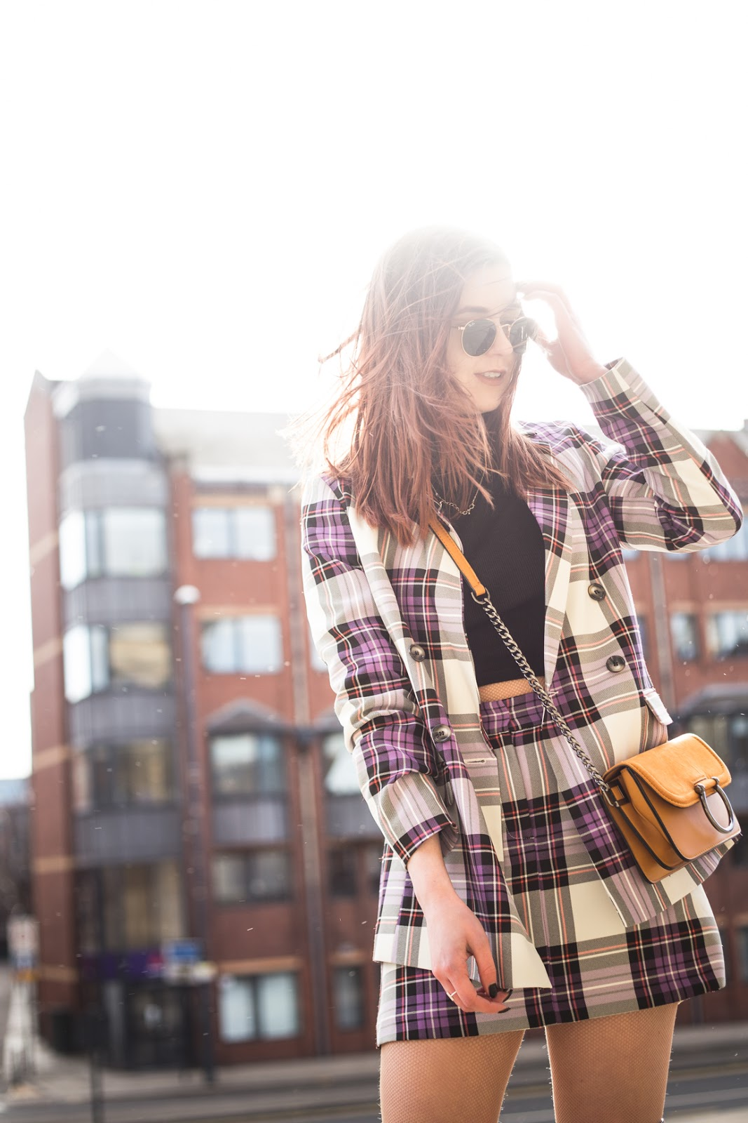 purple tartan co-ord