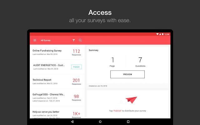 Screenshot Zoho Survey - Apcoid