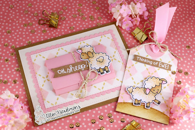 Lamb card and gift tag by Ellen Haxelmans | Baa Stamp Set, Fancy Edges Tag Die Set, Argyle Stencil Set and Framework Die Set by Newton's Nook Designs #newtonsnook #handmade