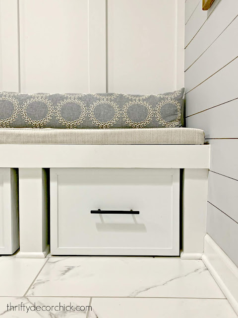 DIY storage for mud room bench