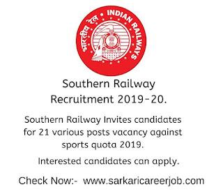 southern railway job vacancies against sport quota.