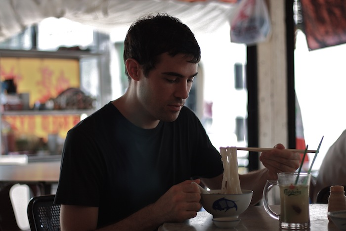 eating beef koay teow soup and drinking fresh nutmeg juice in georgetown world heritage site