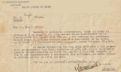 Carta de Guinart a Àngel Ribera en 1930