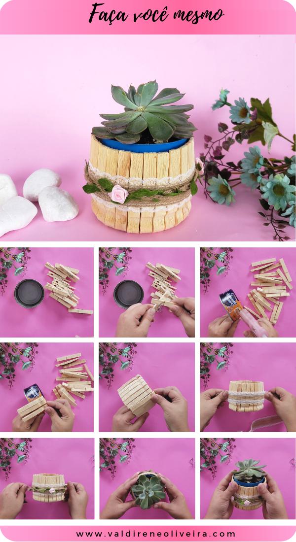 faca você mesmo vasos de suculentas decorados