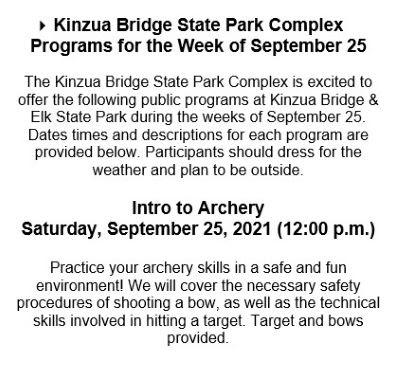 9-25 Kinzua Bridge State Park Programs