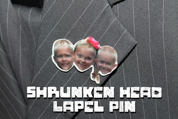 Lapel pin with shinky dink plastic of kids faces